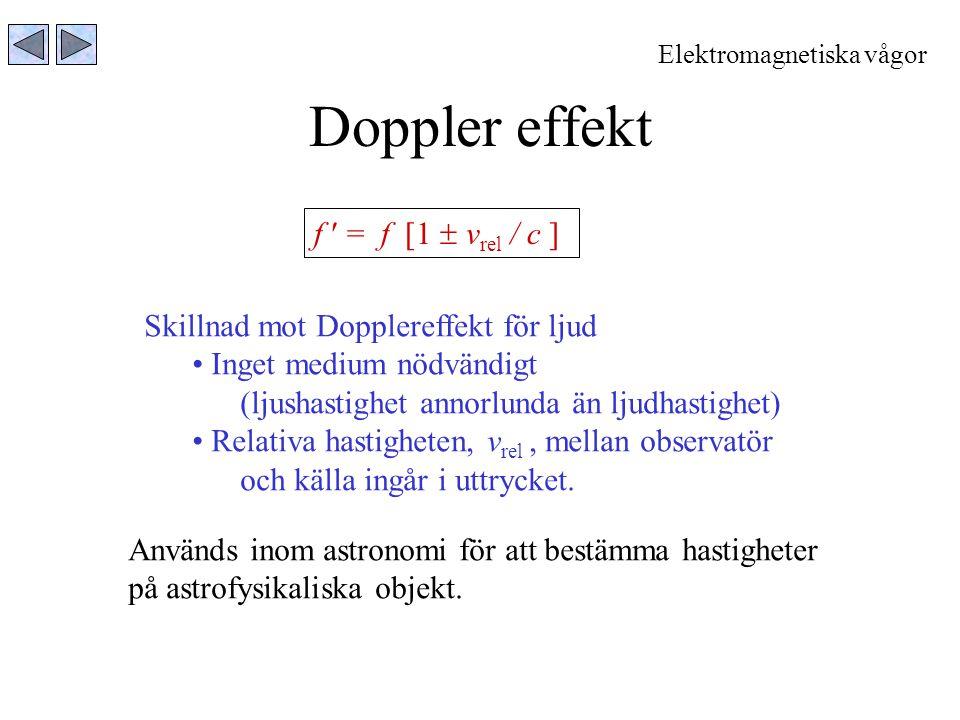 Doppler effekt f  = f [1  vrel / c ]